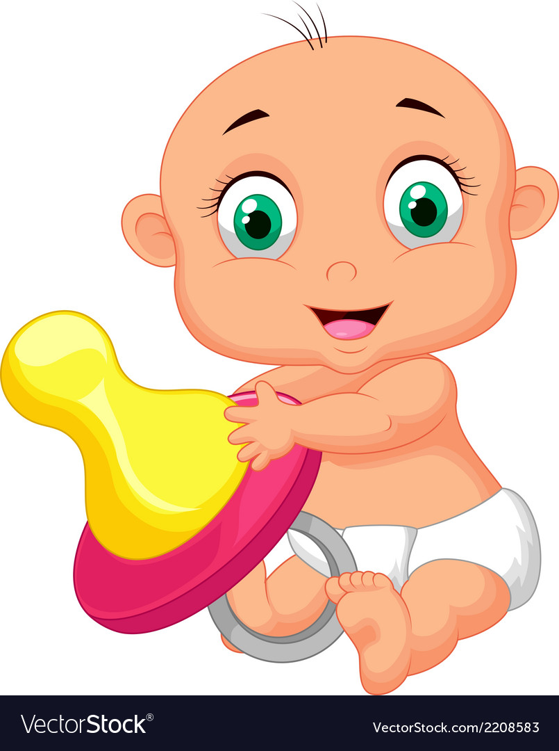 Baby cartoon holding pacifier vector | Price: 1 Credit (USD $1)