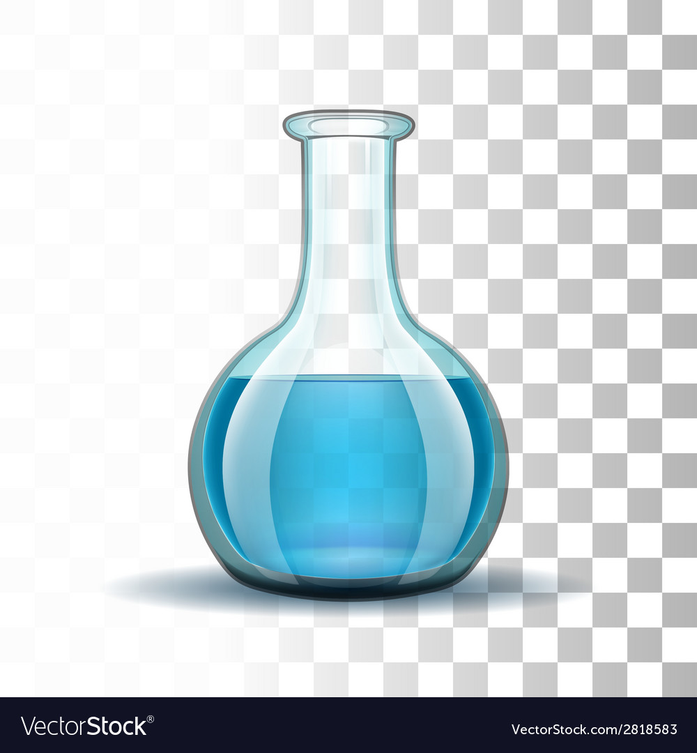 Chemical laboratory transparent flask with blue vector | Price: 1 Credit (USD $1)