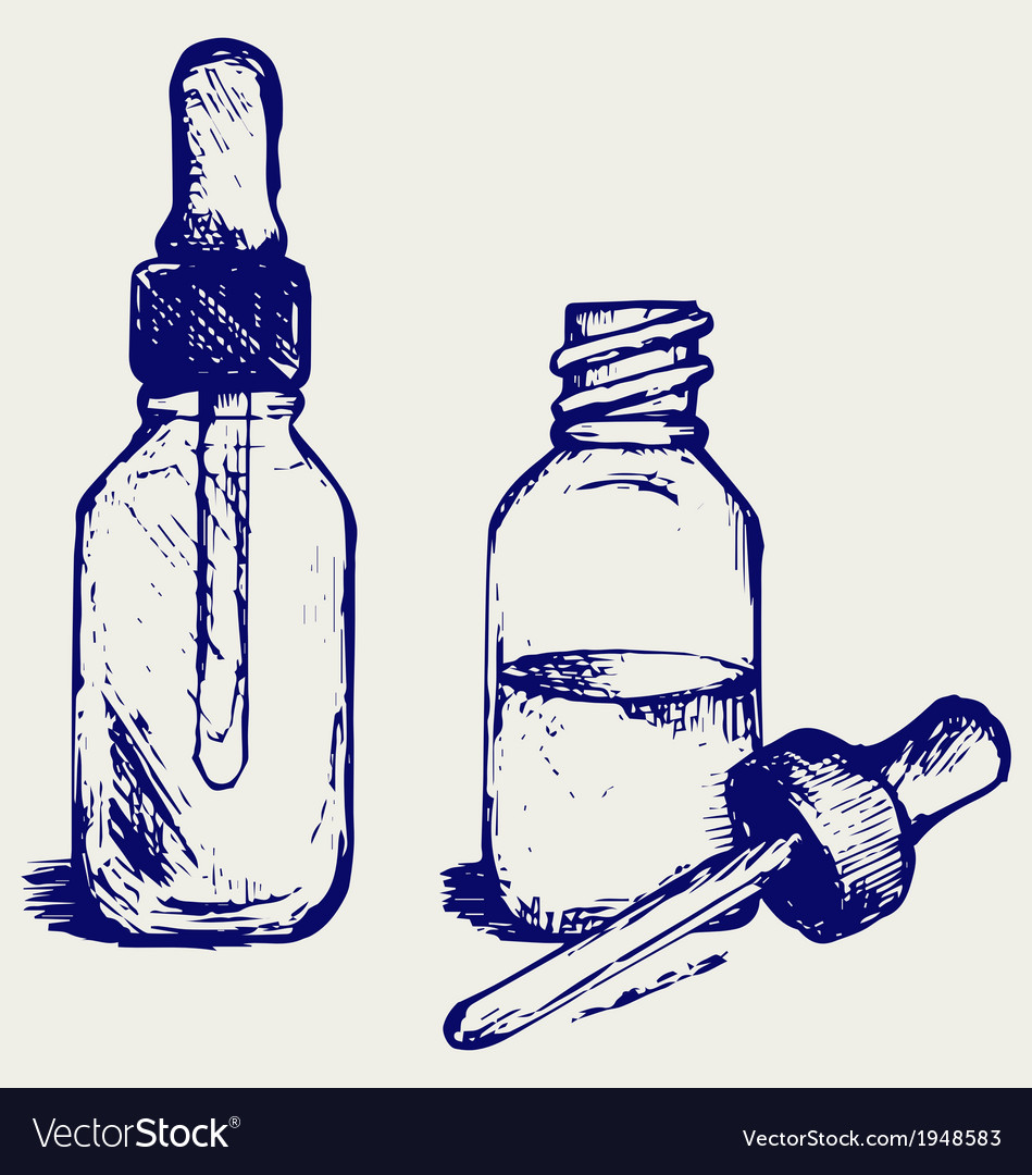 Open medicine bottle with a dropper vector   Price: 1 Credit (USD $1)