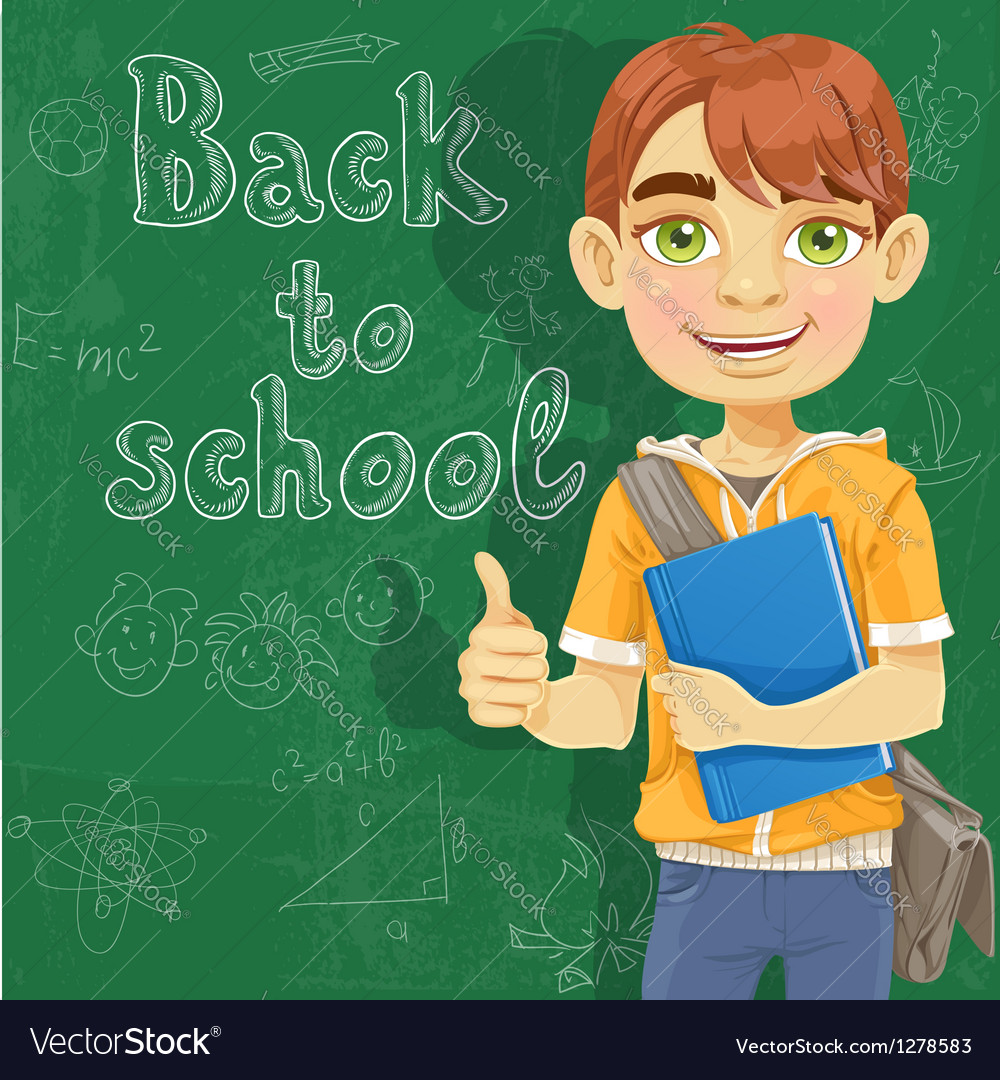 Teenage boy with a textbook near blackboard vector | Price: 1 Credit (USD $1)