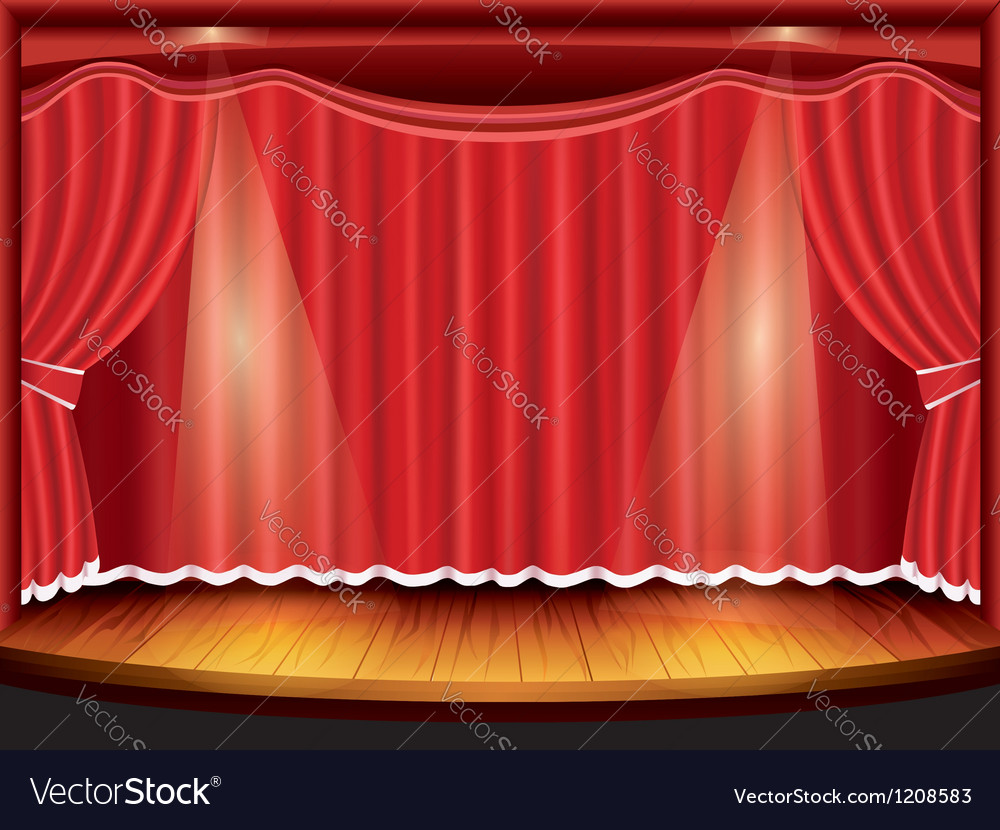 Ter stage with red curtain and spotlight vector