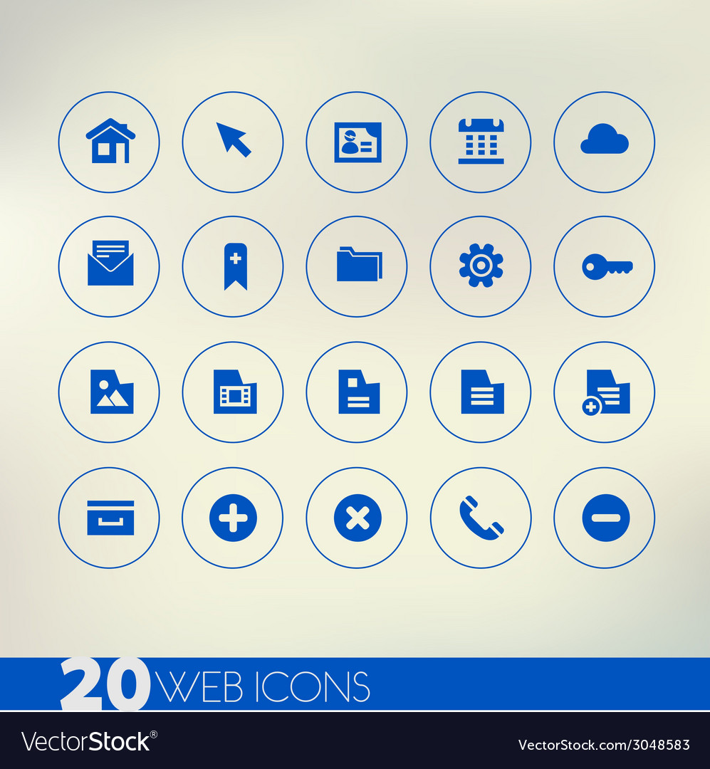 Thin simple web blue icons on light background vector | Price: 1 Credit (USD $1)