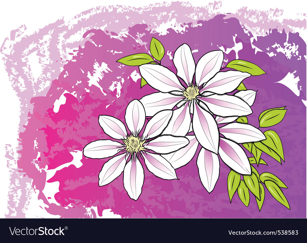 White flower on the purple background vector | Price: 1 Credit (USD $1)