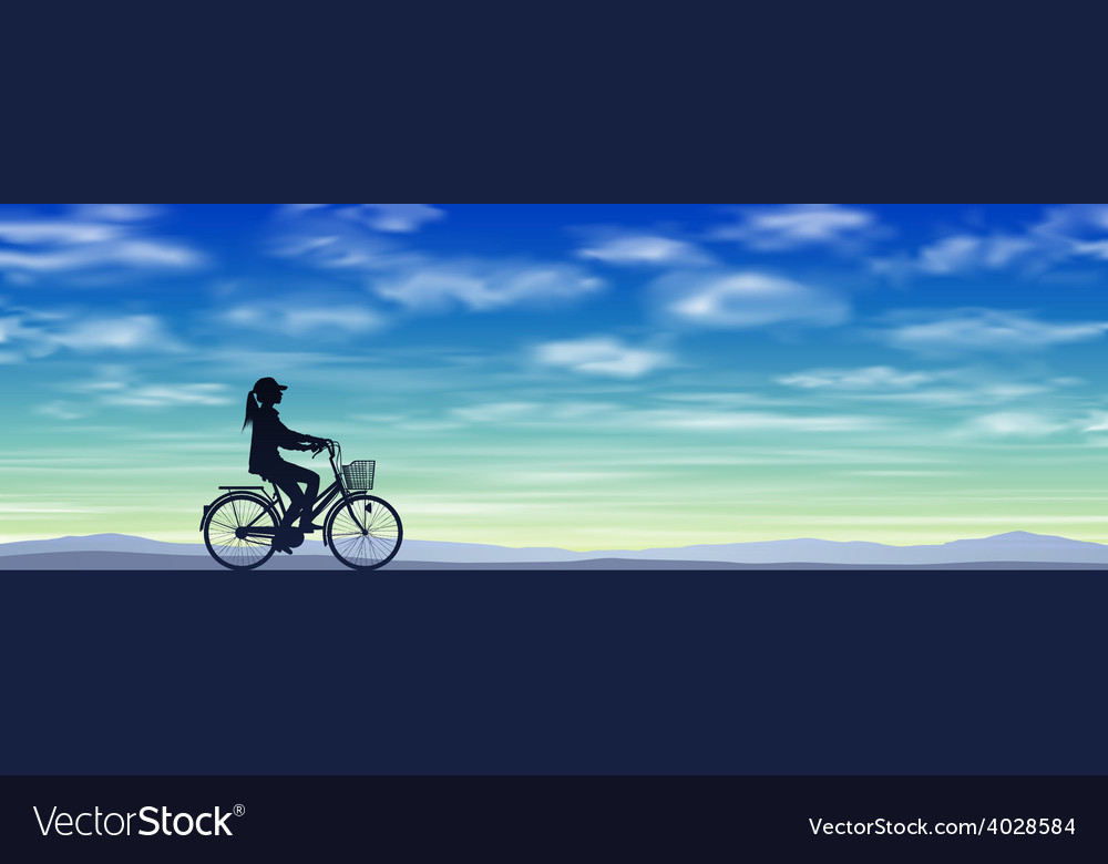 A girl on a bicycle vector   Price: 1 Credit (USD $1)