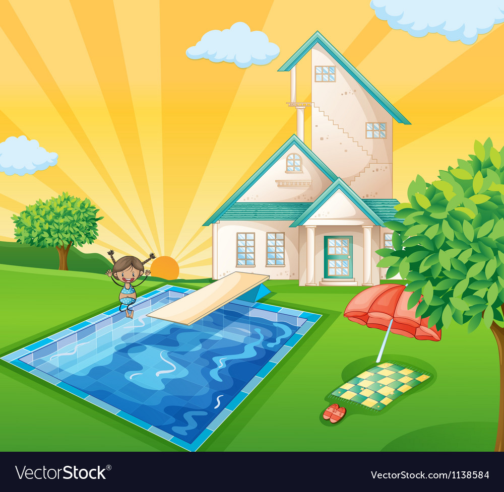 A house and a girl vector   Price: 1 Credit (USD $1)