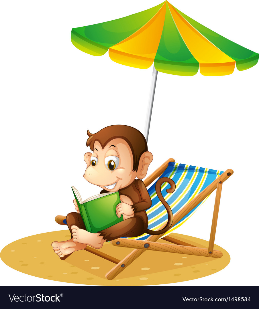 A monkey reading a book at the beach vector