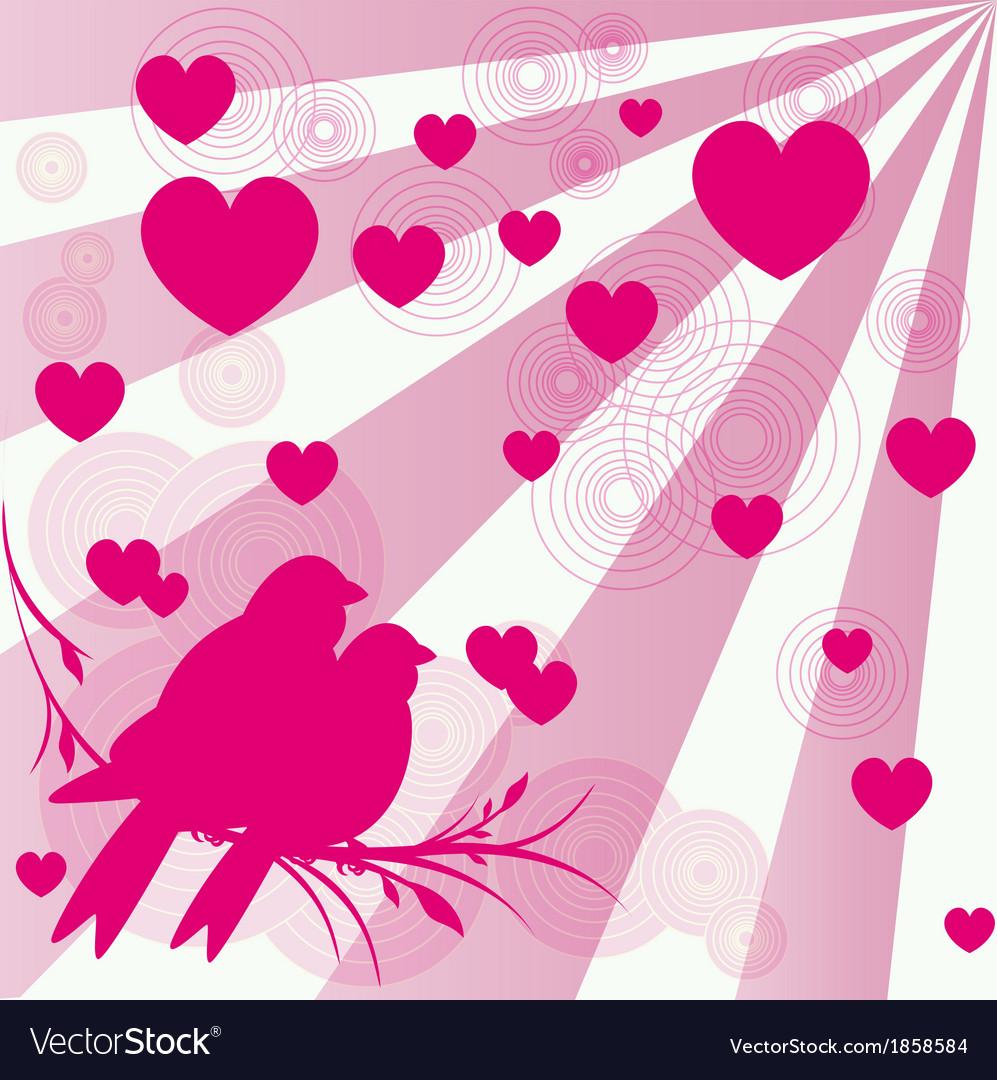 Card of romantic love birds vector | Price: 1 Credit (USD $1)