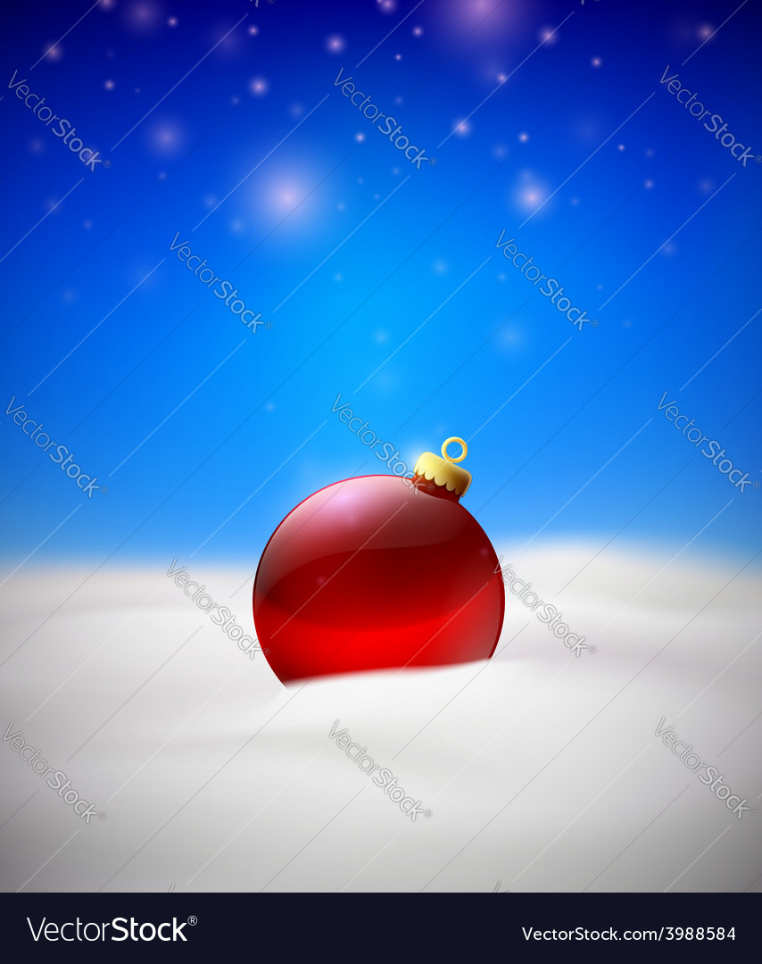 Christmas background with red christmas tree ball vector | Price: 1 Credit (USD $1)