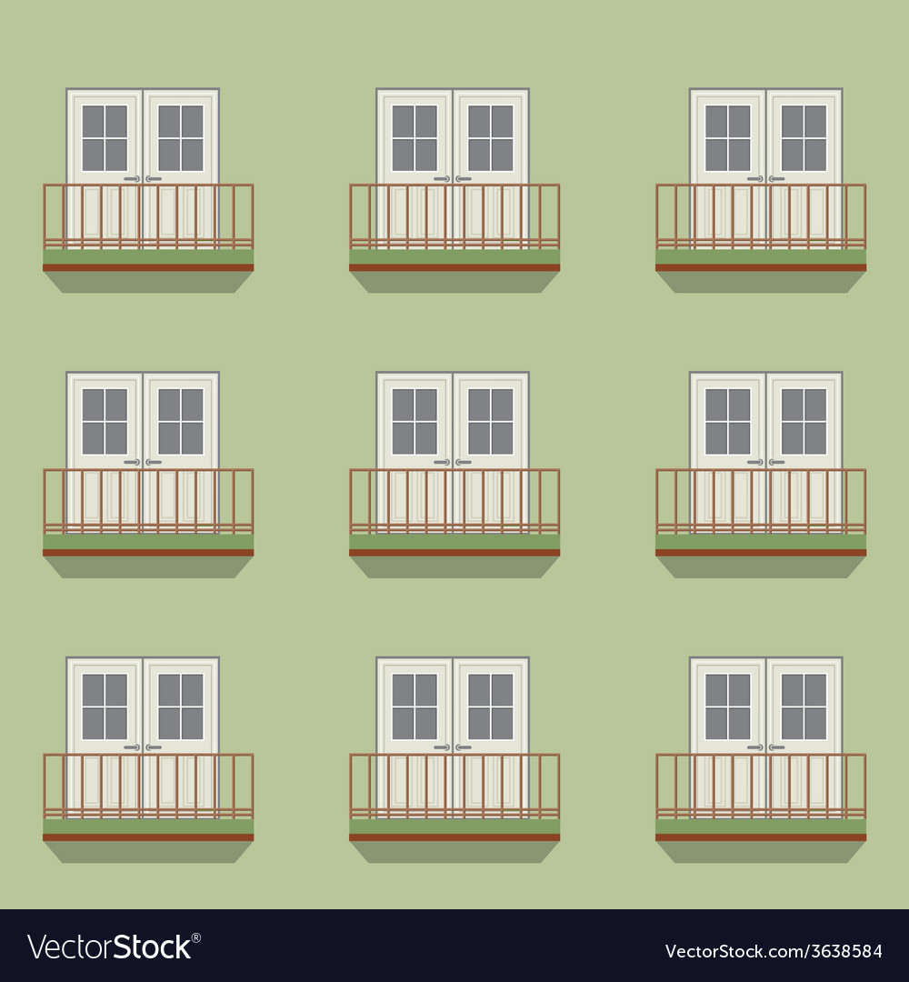 Closed doors with balcony vintage style vector | Price: 1 Credit (USD $1)