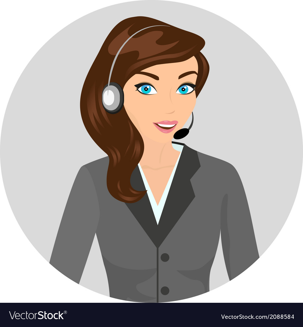 Female call centre operator - isolated vector | Price: 1 Credit (USD $1)