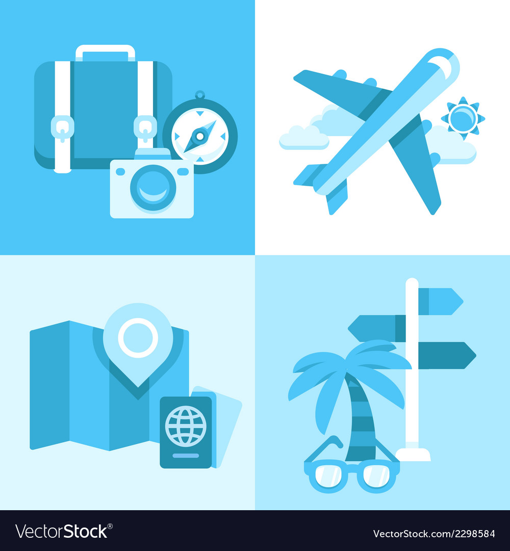 Flat icon set of travel symbols vector | Price: 1 Credit (USD $1)