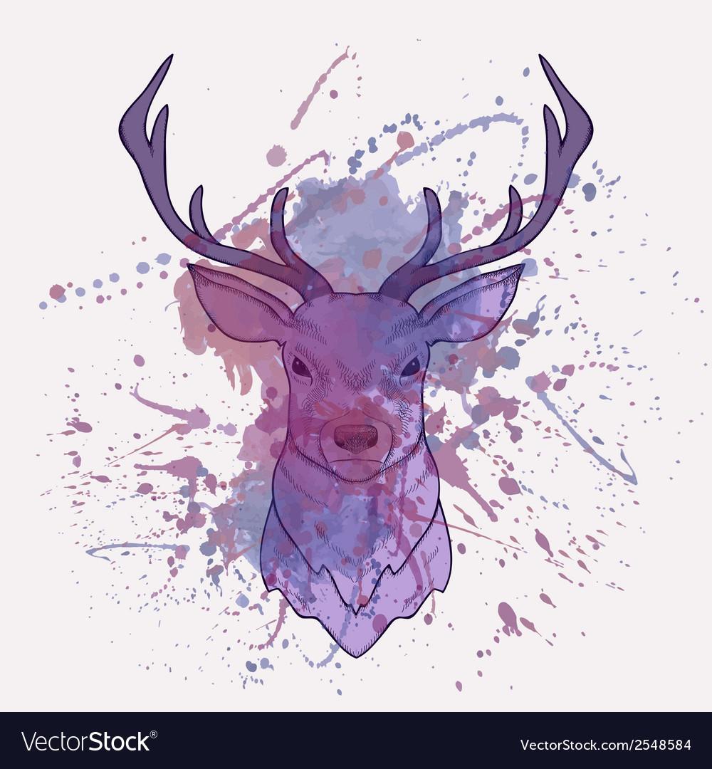 Grunge of deer with watercolor splash vector | Price: 1 Credit (USD $1)