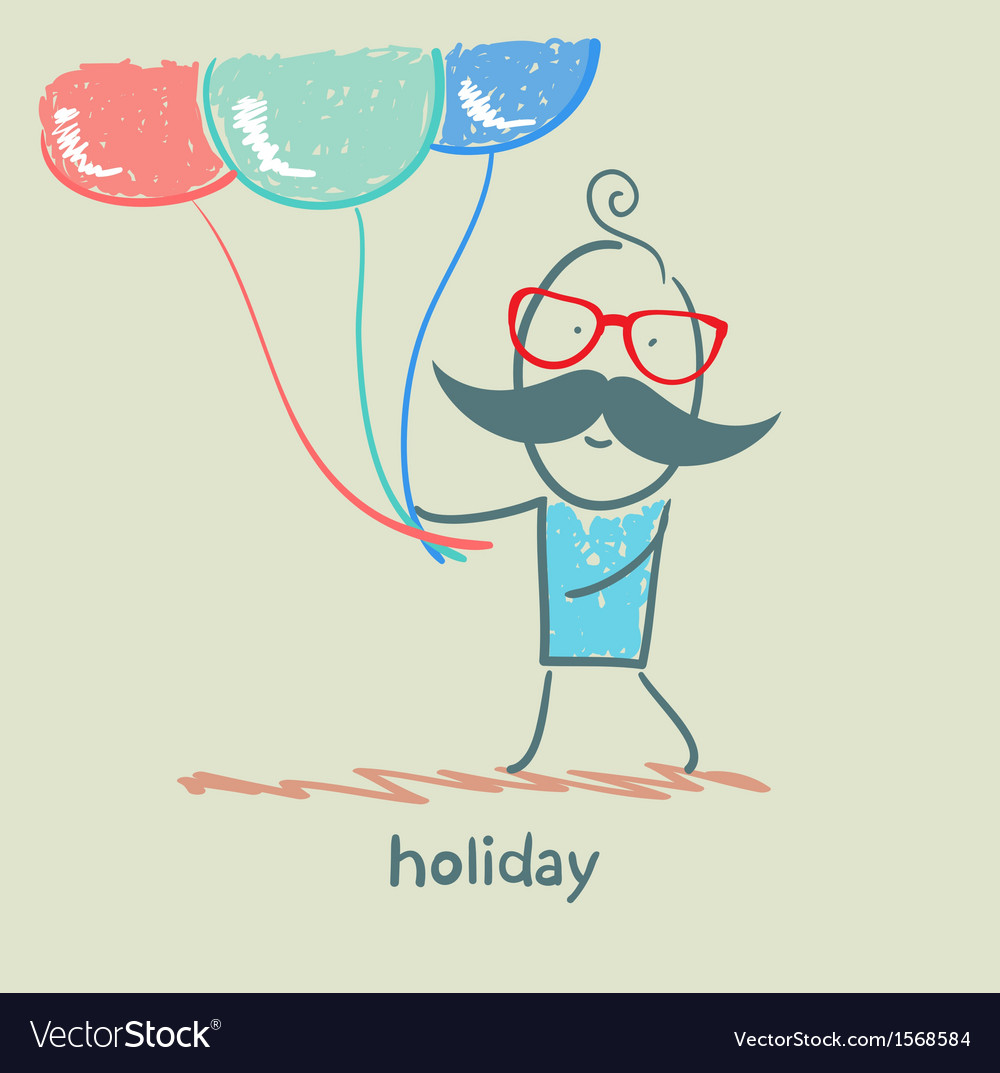 Holiday at the person with balloons vector | Price: 1 Credit (USD $1)