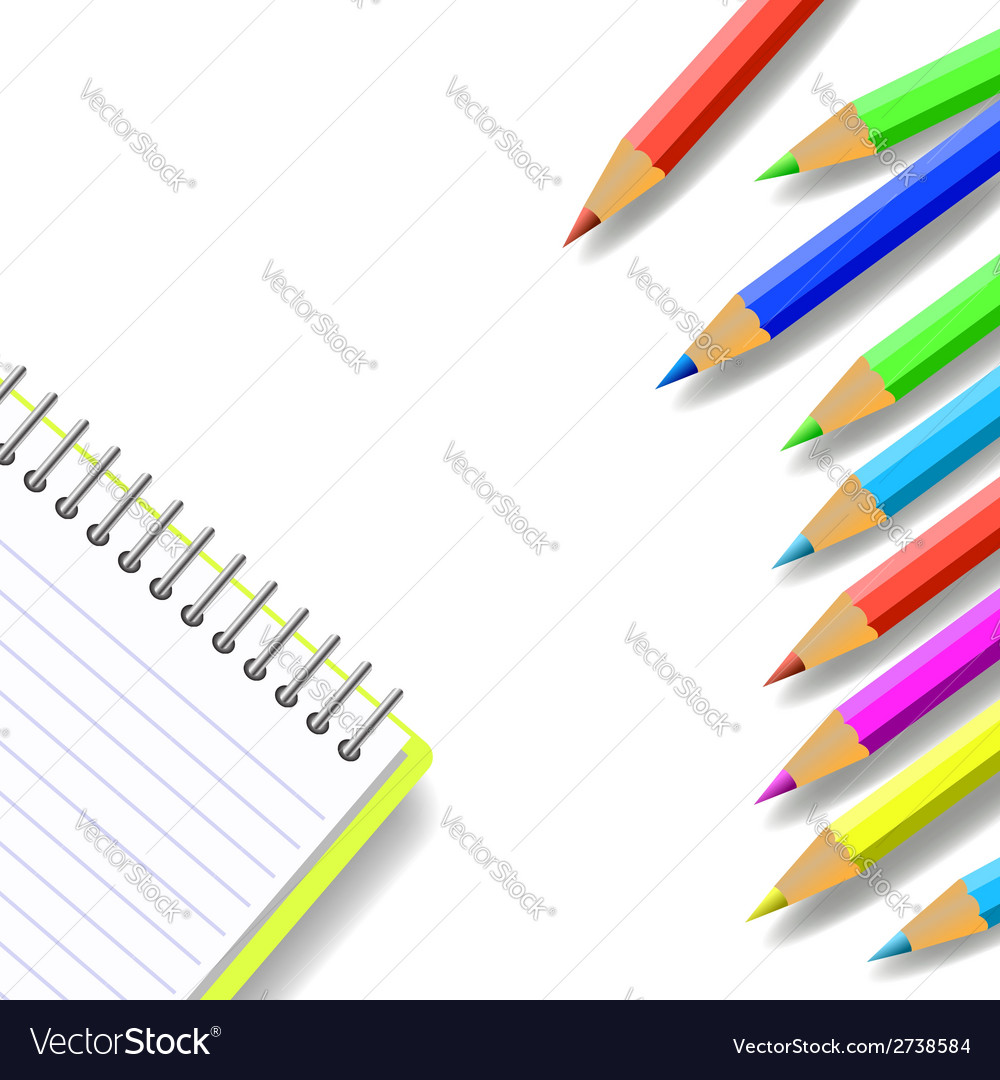 Notebook and pencils vector | Price: 1 Credit (USD $1)
