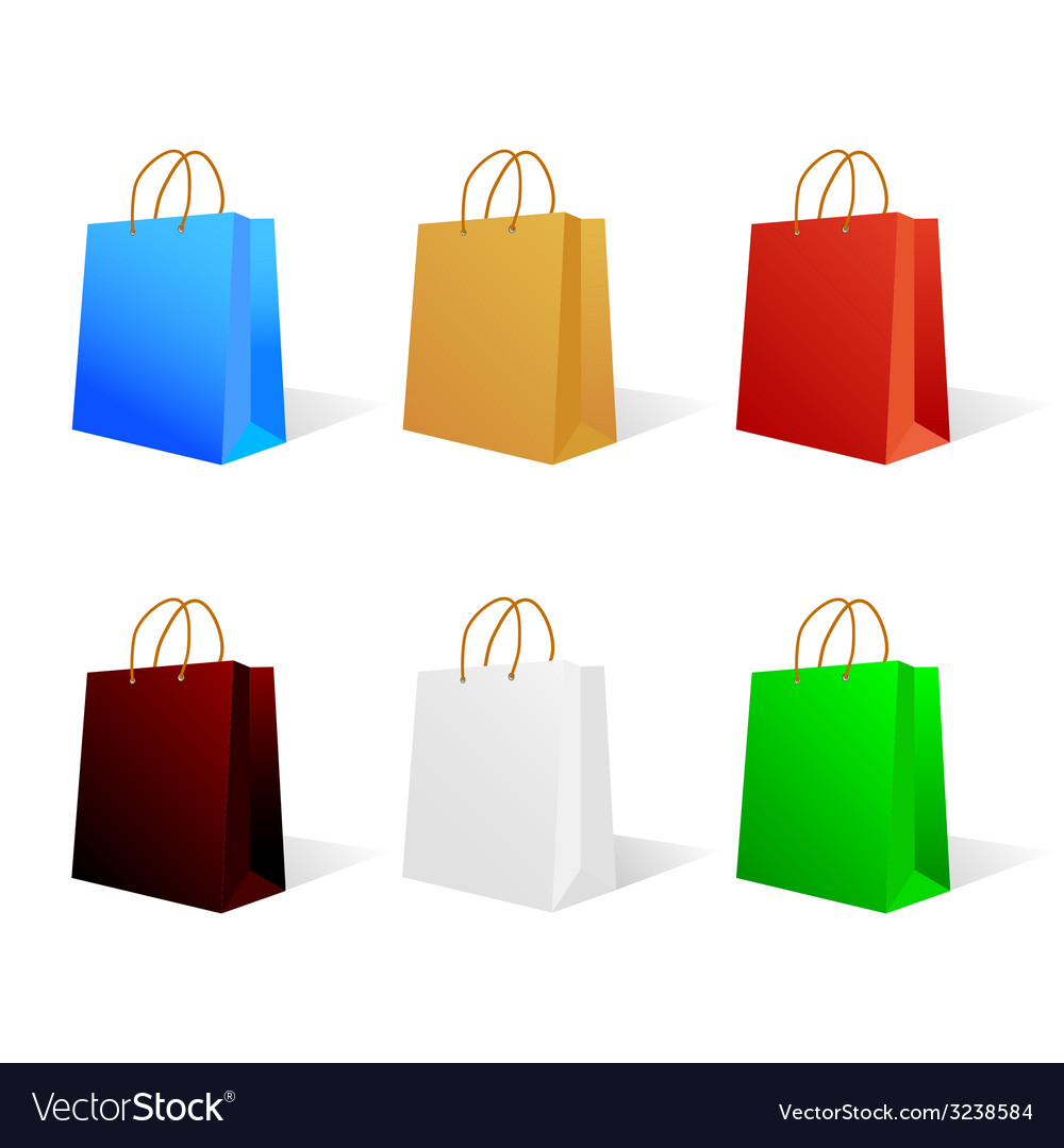 Paper bag in six color vector | Price: 1 Credit (USD $1)