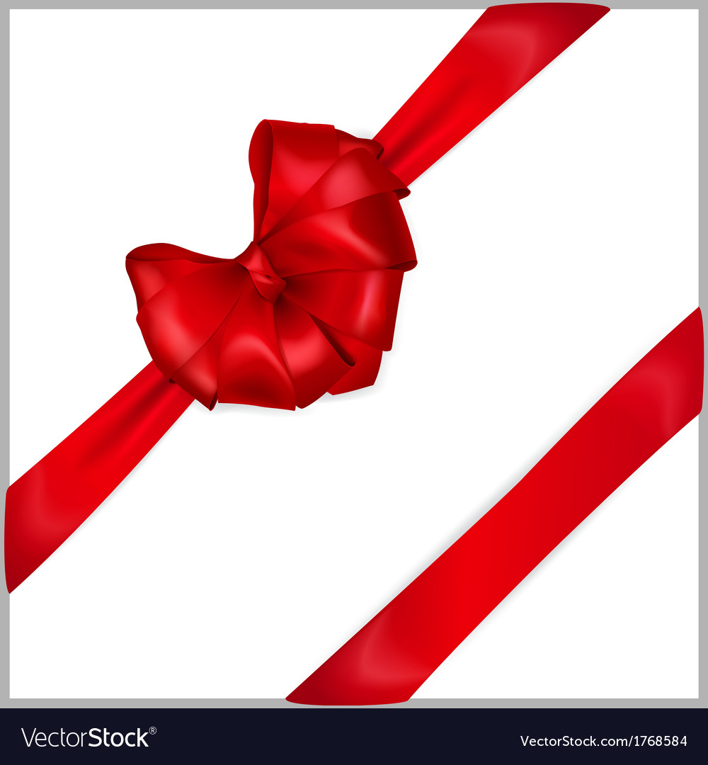 Red bow with diagonally ribbons vector | Price: 1 Credit (USD $1)