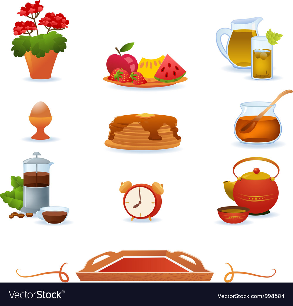 Red breakfast icons set vector | Price: 1 Credit (USD $1)
