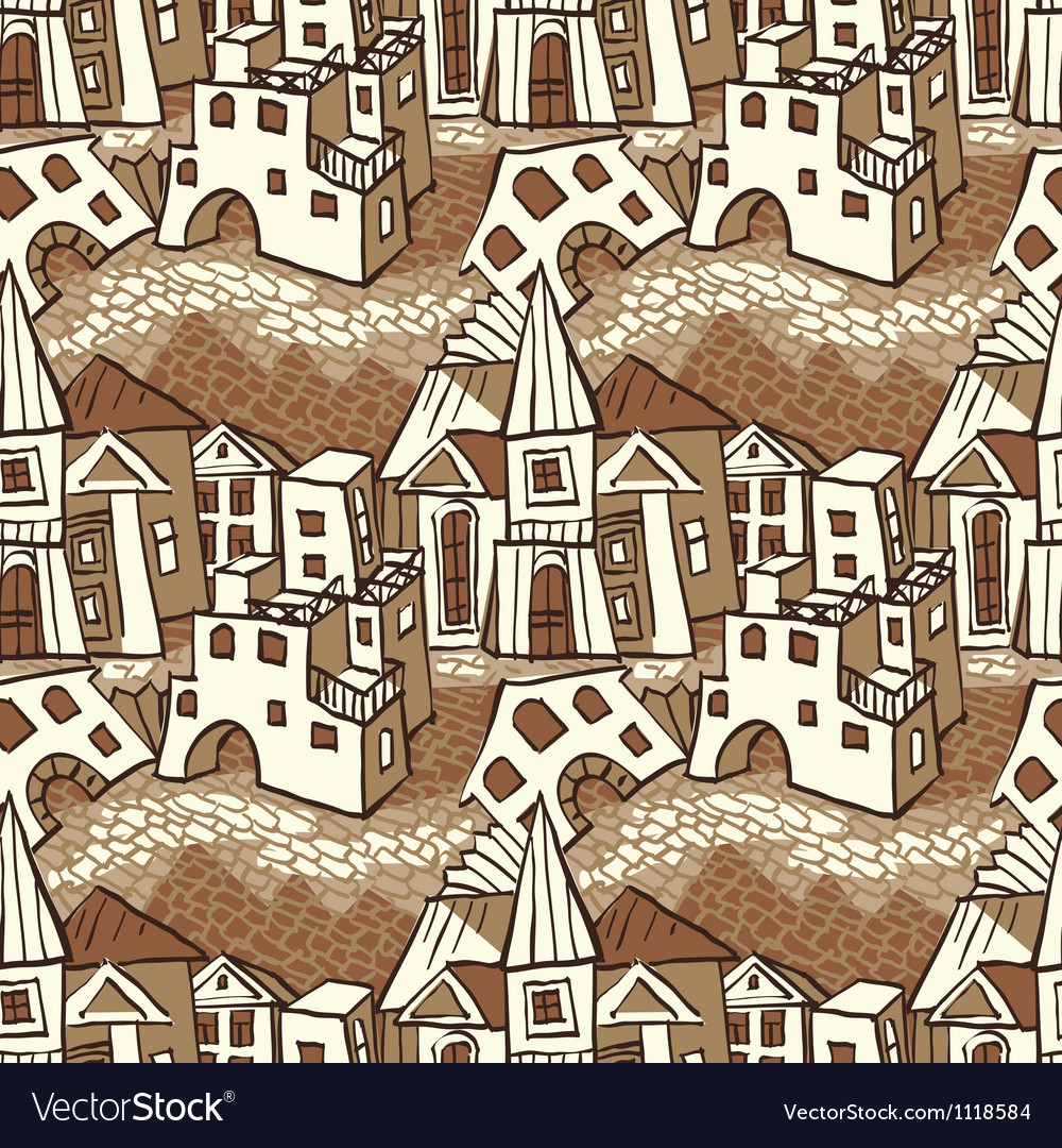 Seamless pattern town vector | Price: 1 Credit (USD $1)