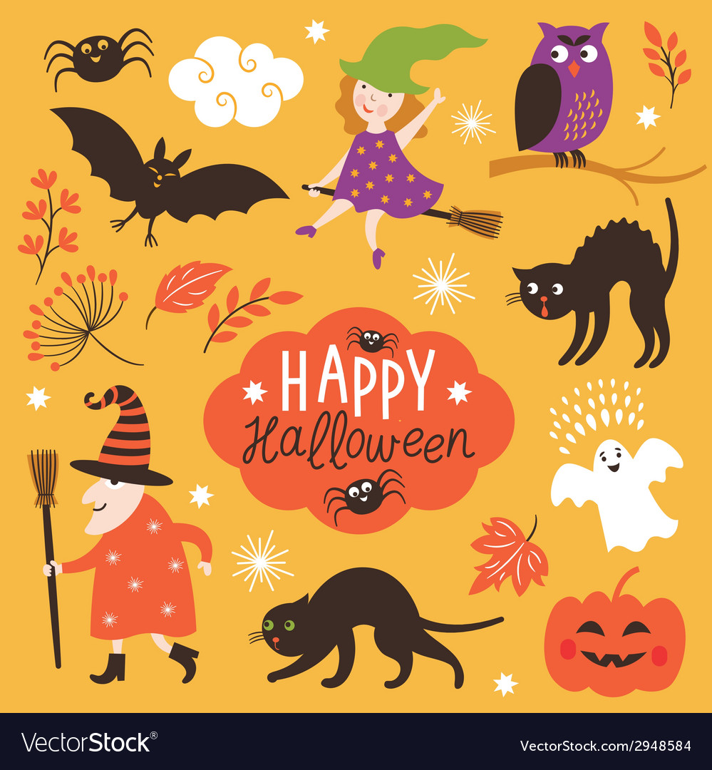 Set of cute halloween elements vector | Price: 1 Credit (USD $1)