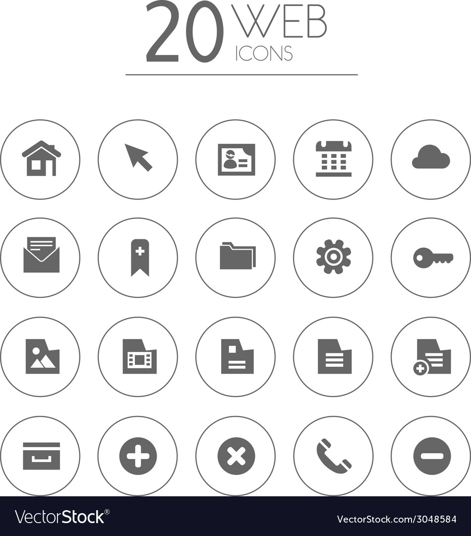 Simple thin web icons collection on white vector | Price: 1 Credit (USD $1)