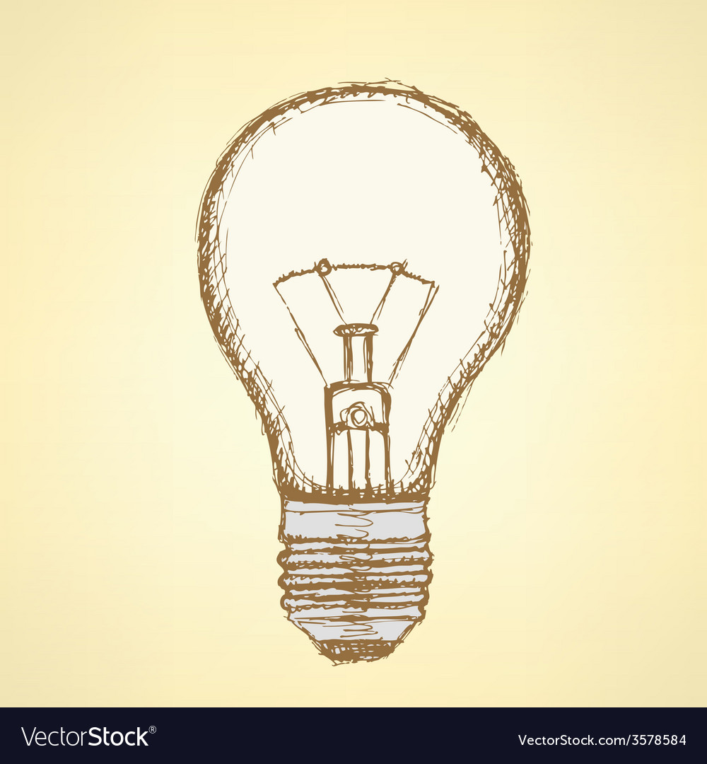 Sketch light bulb in vintage style vector | Price: 1 Credit (USD $1)
