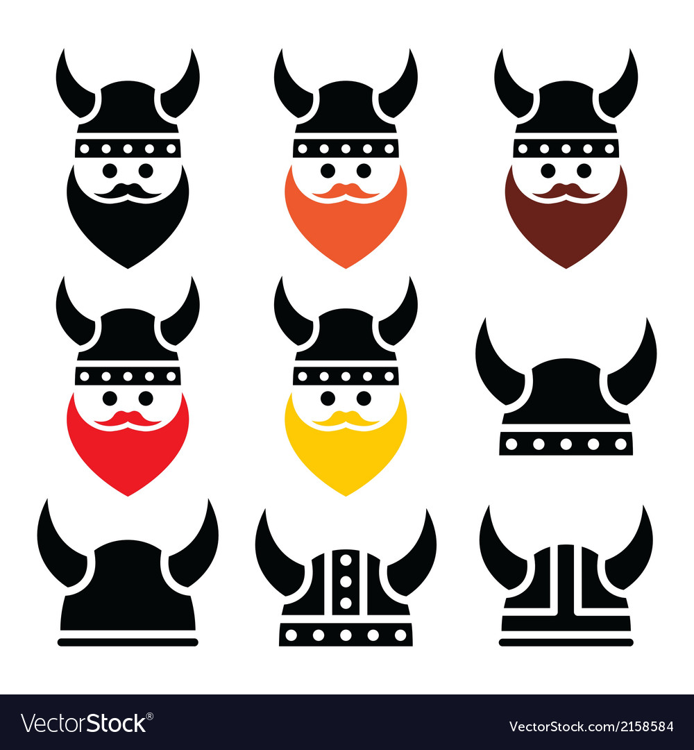 Viking warrior in helmet icons set vector | Price: 1 Credit (USD $1)