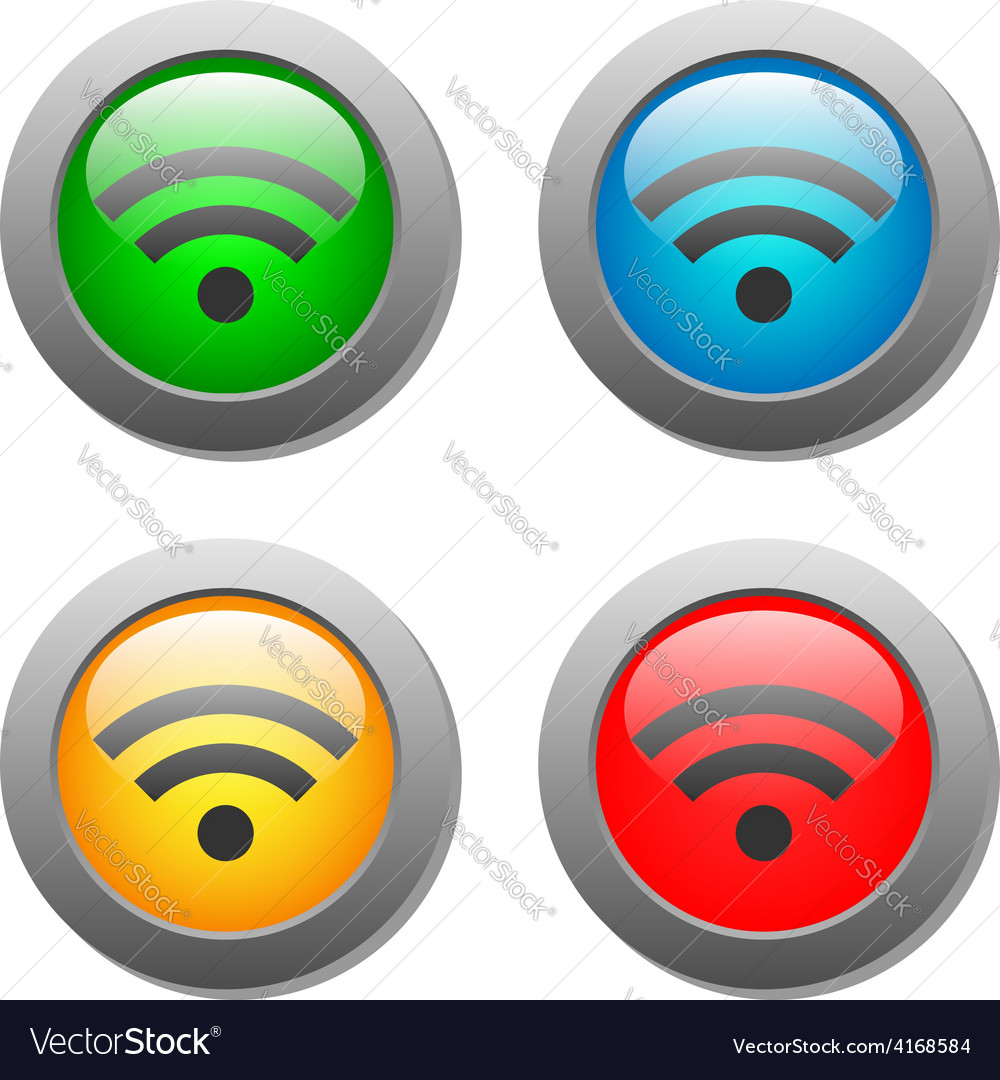 Wifi icon on bright buttons set vector | Price: 1 Credit (USD $1)