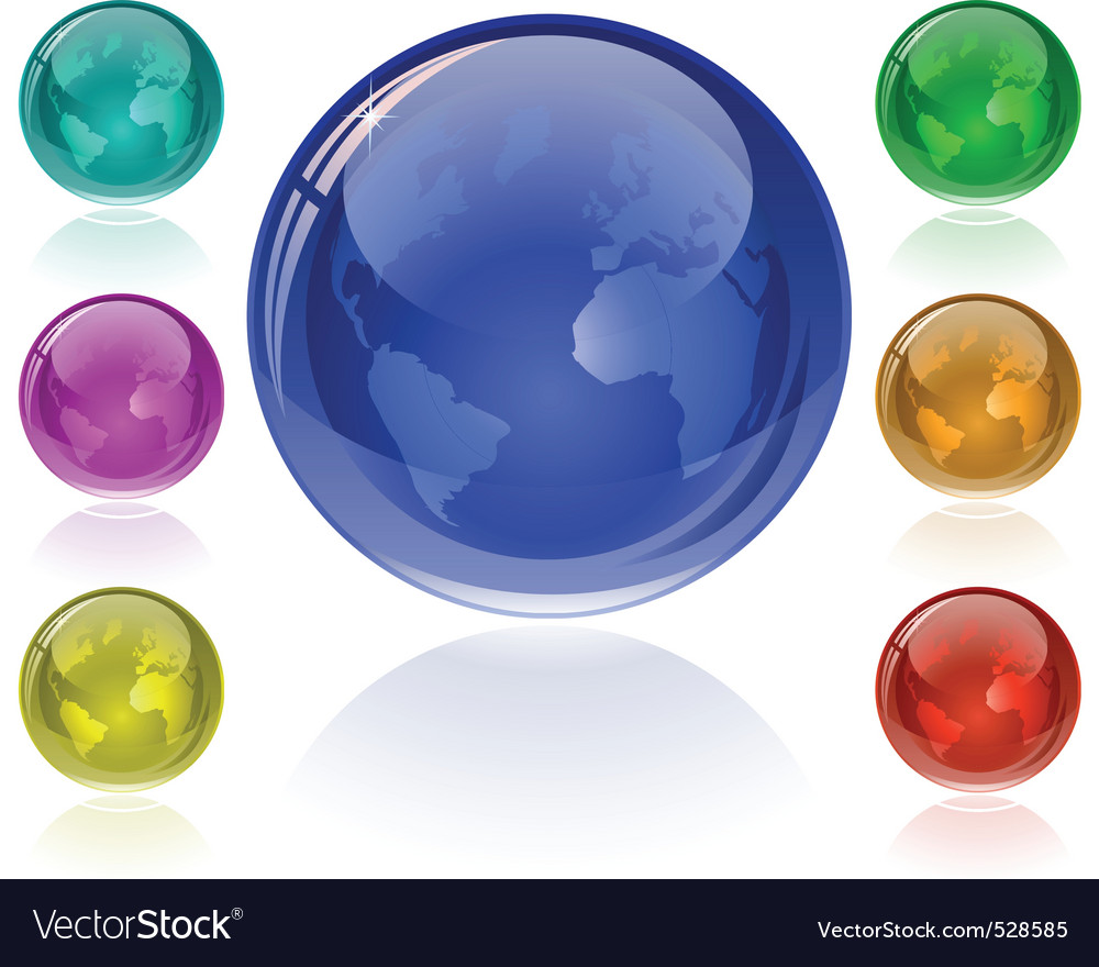 Glossy globe set vector | Price: 1 Credit (USD $1)