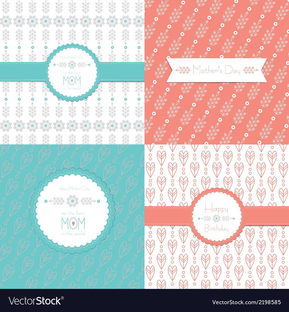 Greeting cards happy birthday and mothers day set vector | Price: 1 Credit (USD $1)