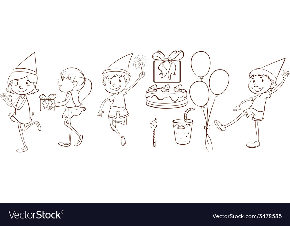 People celebrating a birthday vector | Price: 1 Credit (USD $1)