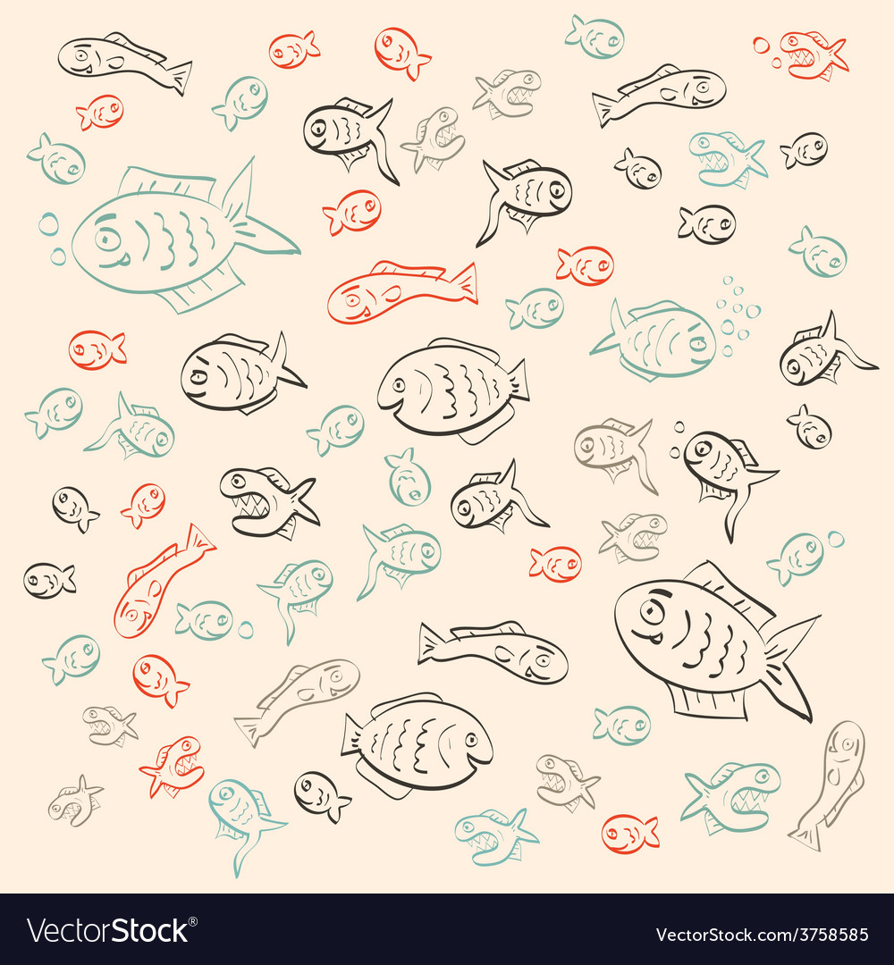 Retro abstract simple outline fish pattern vector | Price: 1 Credit (USD $1)
