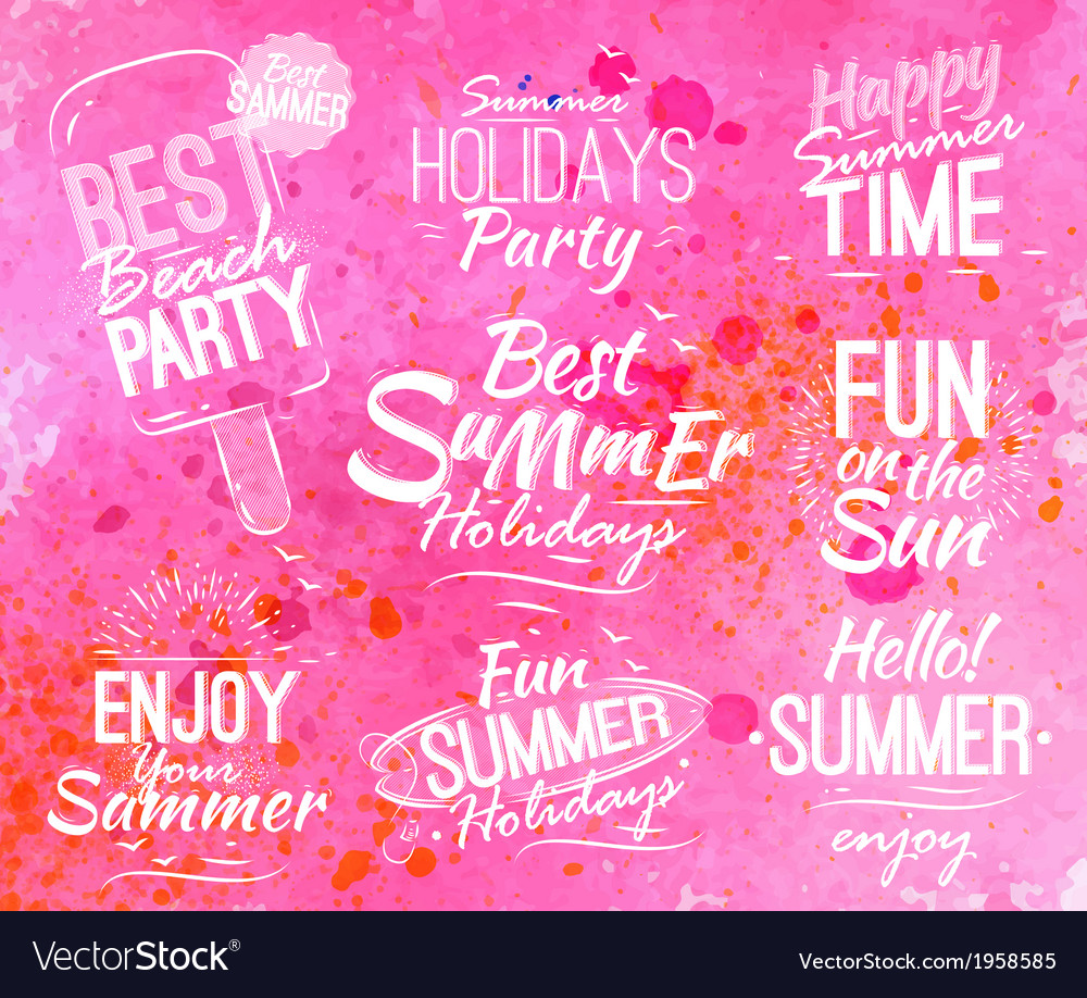 Summer set in retro style on pink watercolor vector | Price: 1 Credit (USD $1)