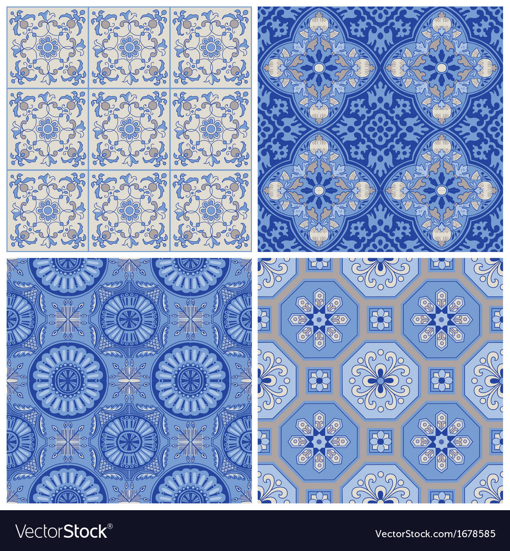 Vintage porcelain background set vector | Price: 1 Credit (USD $1)