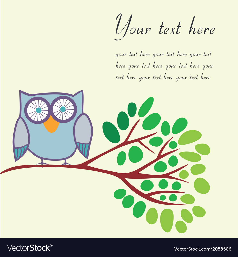 Bird on a branch with place for your text vector | Price: 1 Credit (USD $1)