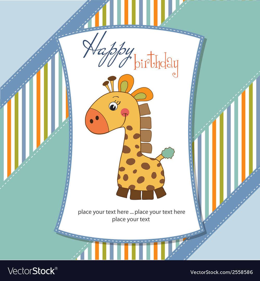 Birthday card with giraffe vector | Price: 1 Credit (USD $1)