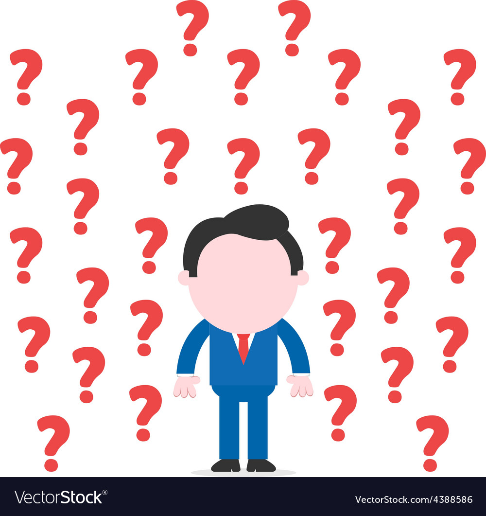 Businessman surrounded by question marks vector | Price: 1 Credit (USD $1)
