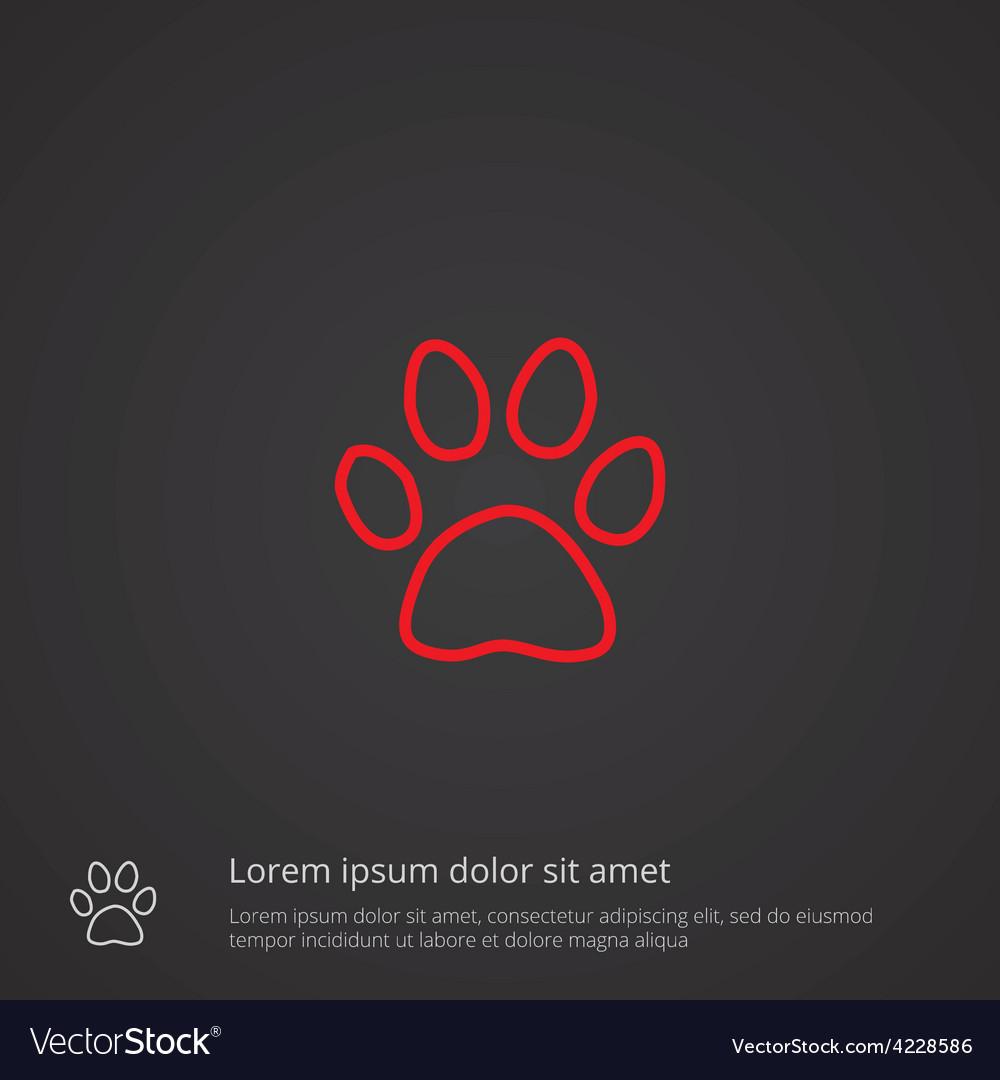 Cat footprint outline symbol red on dark vector | Price: 1 Credit (USD $1)