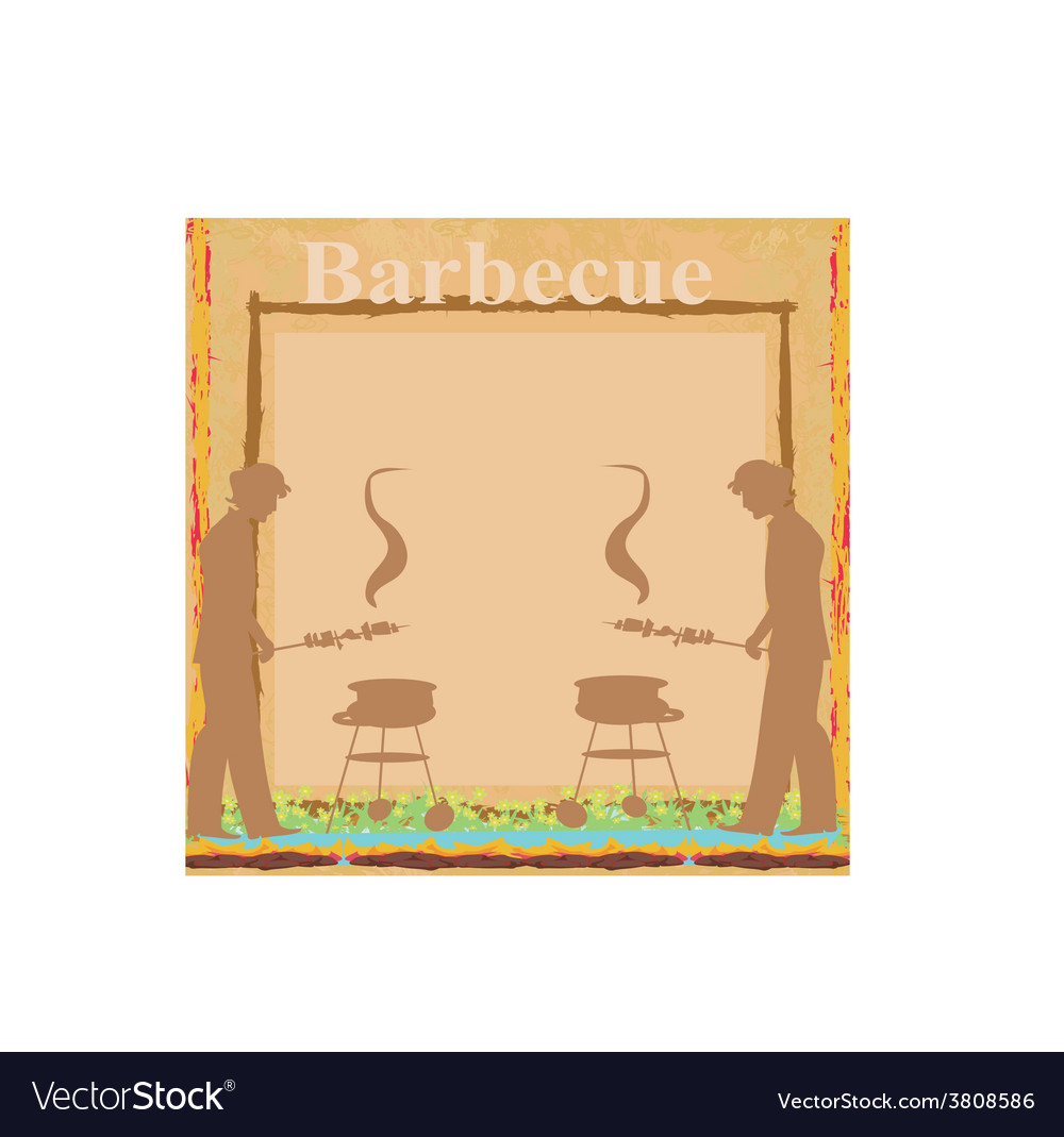 Man cooking on his barbecue - invitation card vector | Price: 1 Credit (USD $1)