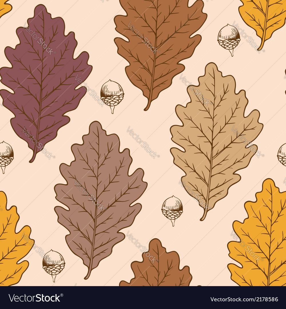 Seamless pattern with autumn oak leaves vector | Price: 1 Credit (USD $1)