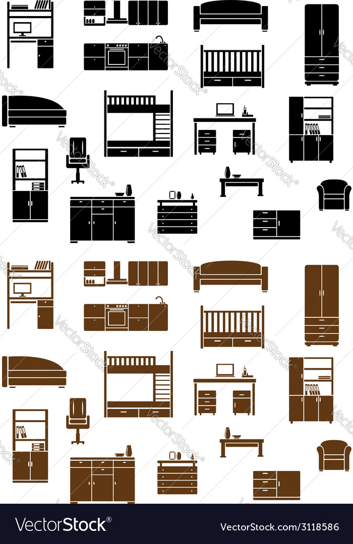 Set of flat furniture icons vector | Price: 1 Credit (USD $1)