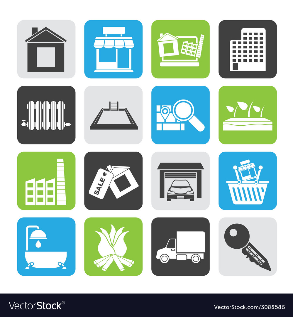 Silhouette real estate and building icons vector | Price: 1 Credit (USD $1)