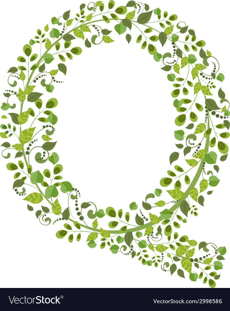 Spring green leaves eco letter q vector | Price: 1 Credit (USD $1)