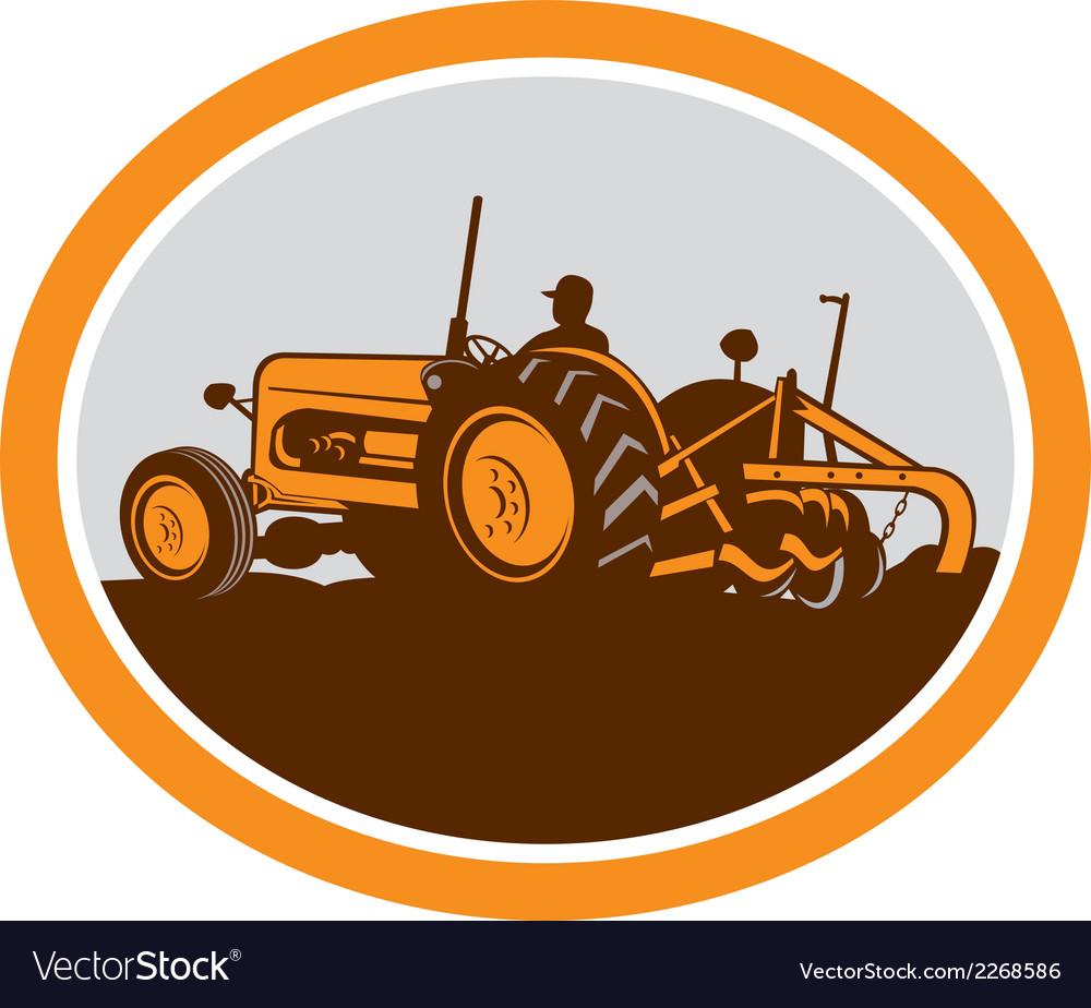 Vintage farm tractor farmer plowing oval retro vector | Price: 1 Credit (USD $1)
