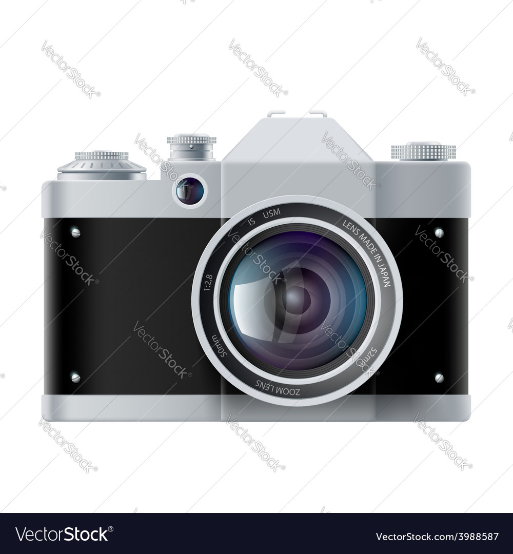Analog film camera isolated on white background vector | Price: 1 Credit (USD $1)