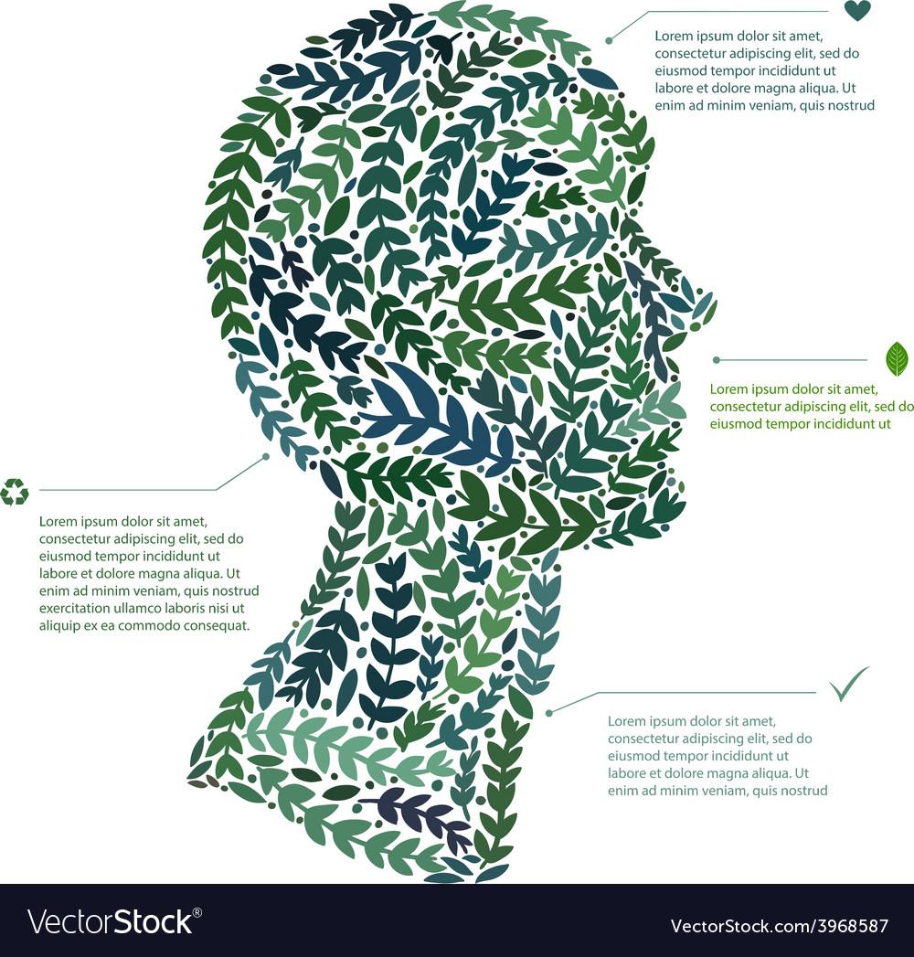 Green leaf portrait man head symbol file vector | Price: 1 Credit (USD $1)