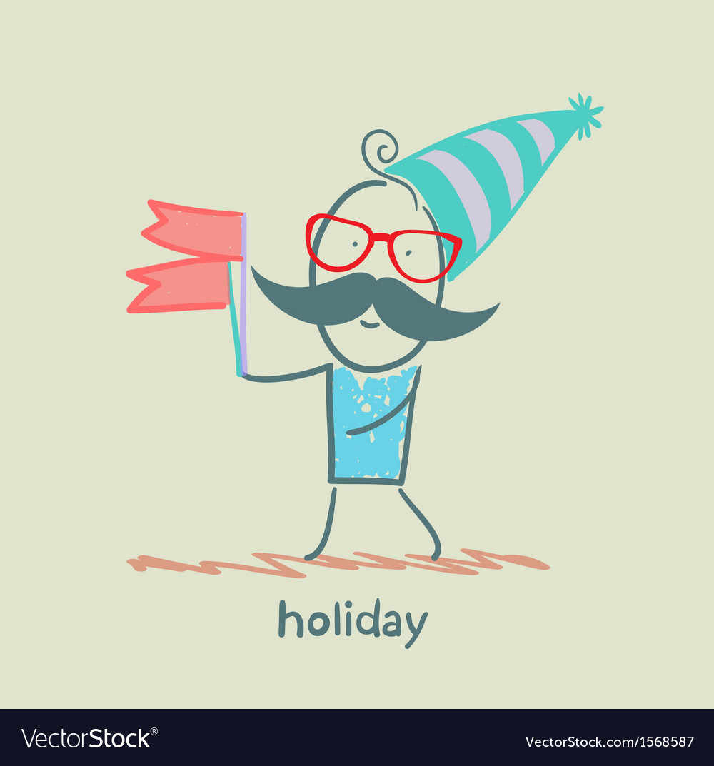 Holiday at the person with flags vector | Price: 1 Credit (USD $1)