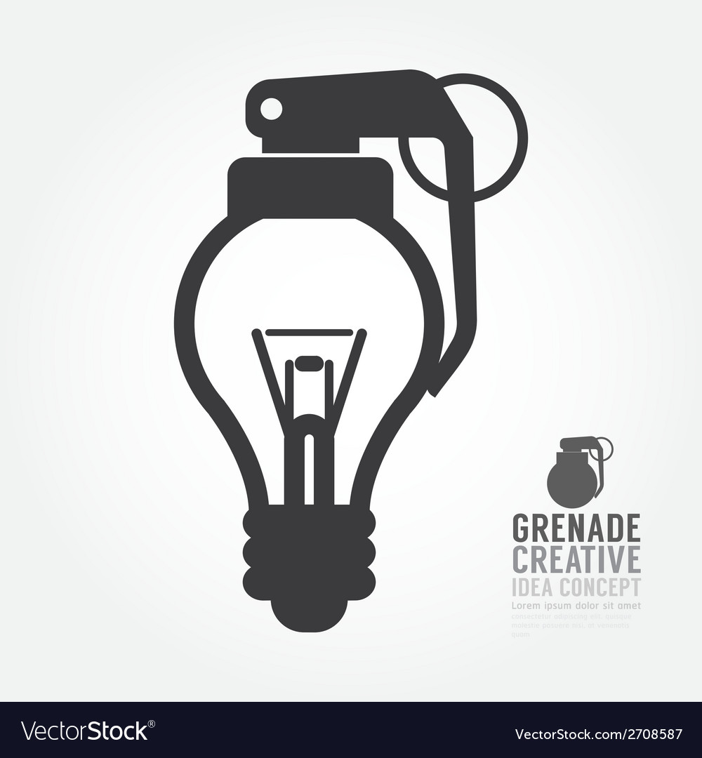 Light bulb distortion from grenade concept vector | Price: 1 Credit (USD $1)