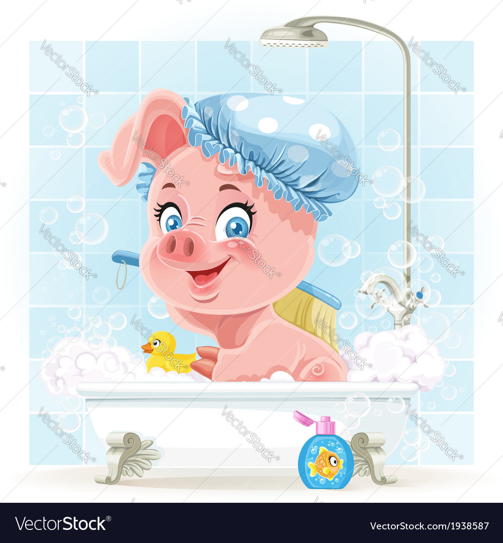 Pretty pink little piggy taking a bath with foam vector | Price: 5 Credit (USD $5)