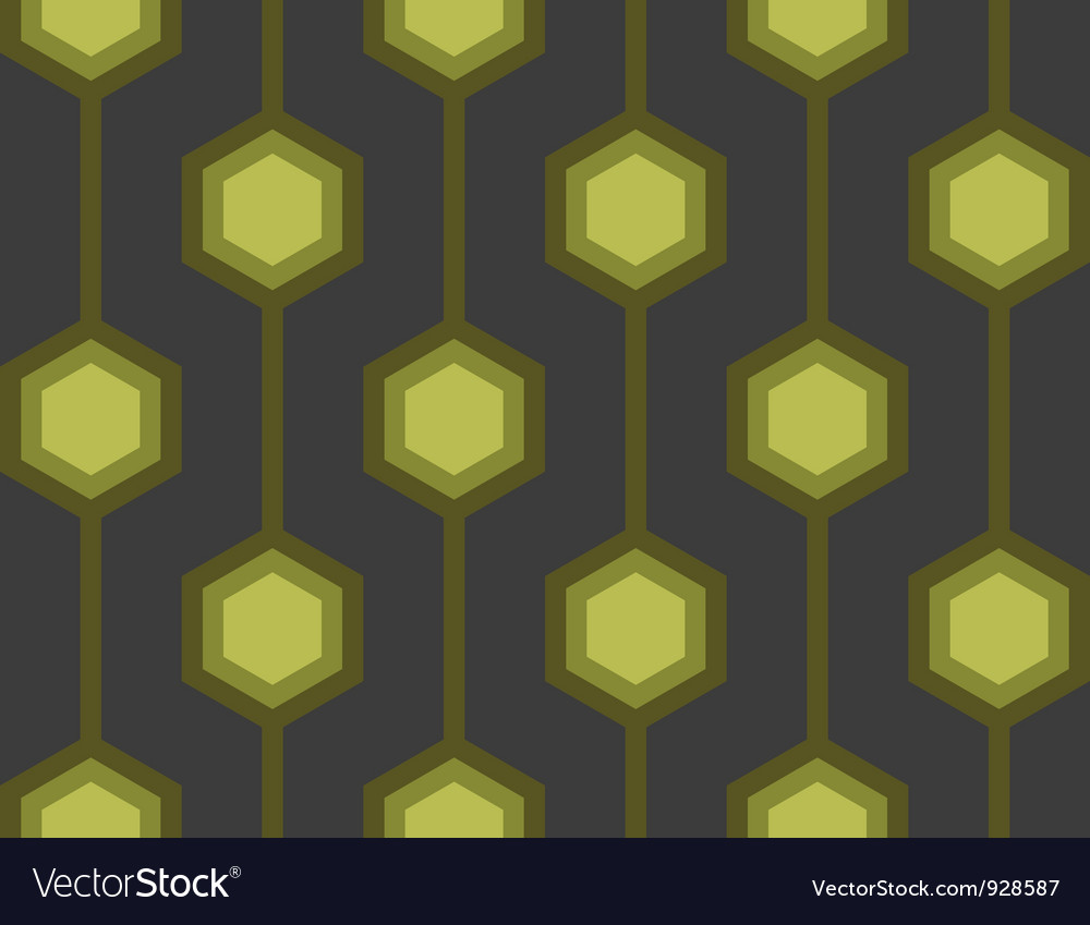 Retro hexagons green seamless tile vector | Price: 1 Credit (USD $1)