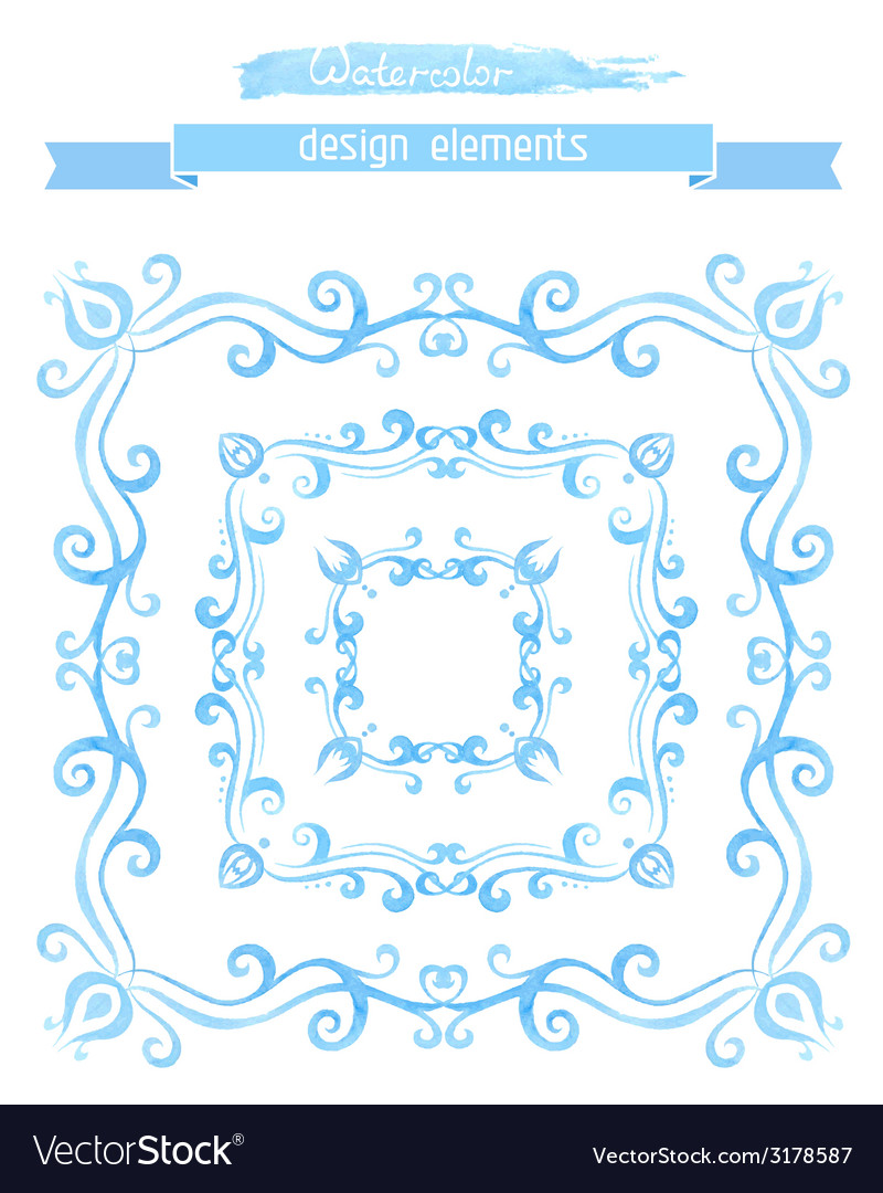 Set of vintage watercolor frames vector | Price: 1 Credit (USD $1)
